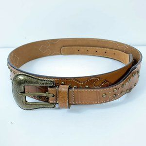 CHICOS Leather Brown Embroidered Belt Wm Sz L